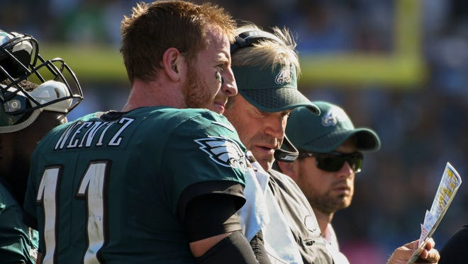 Philadelphia Eagles head coach Doug Pederson with quarterback Carson Wentz (11) during a timeout in the fourth quarter against the Los Angeles Chargers StubHub Center.