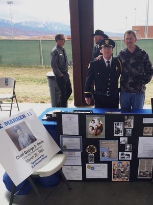 Sgt. Jerry Womack and Lt. Del Schlosser at the Fallen Officers Trail Ride in Moab on April 9, 2016.
