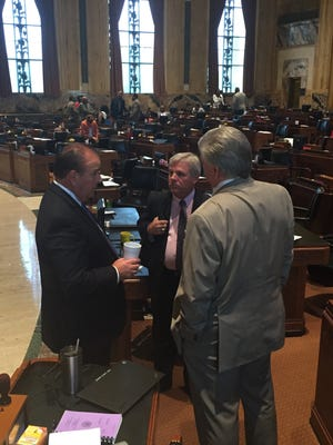 House Speaker Taylor Barras, R-New Iberia, Rep. Gregory Cromer, R-Slidell, and House GOP Caucus Chair Lance Harris of Alexandria, discussed the budget on the House floor during the regular session in June.