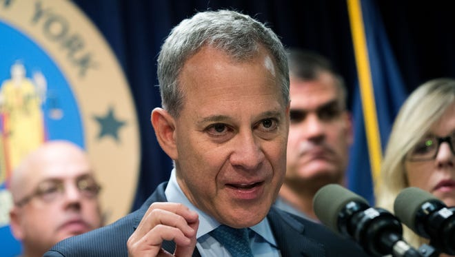 New York Attorney General Eric Schneiderman speaks during a press conference on September 23, 2016 in New York City.