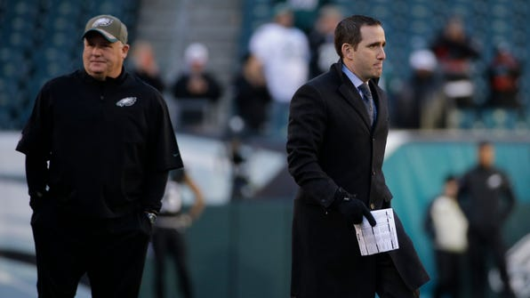 Howie Roseman (right), shown during the 2014 season,