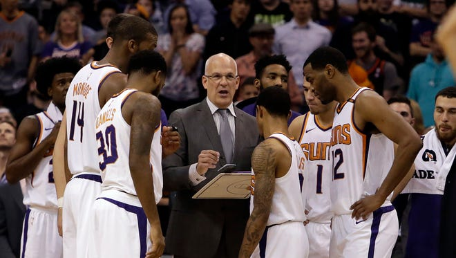 Phoenix Suns head coach Jay Triano in the second half during an NBA basketball game against the Milwaukee Bucks, Wednesday, Nov 22, 2017, in Phoenix. The Bucks defeated the Suns 113-107 in overtime.
