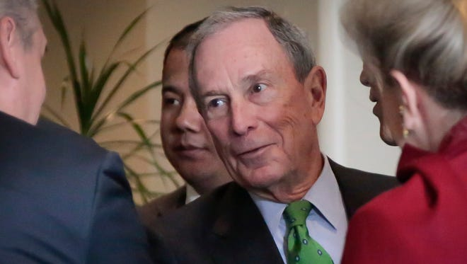 Michael Bloomberg talks with diplomats at the United Nations headquarters in New York on Jan. 27, 2016.