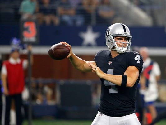 FILE - In this Aug. 26, 2017, file photo, Oakland Raiders quarterback Derek Carr (4) throws a pass during a preseason NFL football game agains the Dallas Cowboys in Arlington, Texas. Carr and the offense are the biggest reason for that excitement heading into the first of what could be three lame-duck seasons in Oakland. (AP Photo/Ron Jenkins, File)