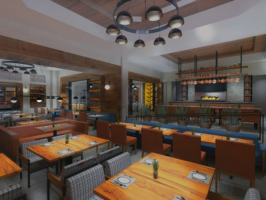 This rendering shows the kitchen and main dining room at Mowry and Cotton at The Phoenician.