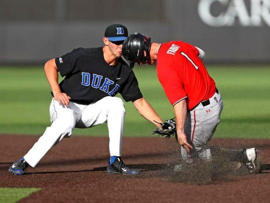 Duke's Zack Kone (2) tags out Texas Tech's Cody Farhat