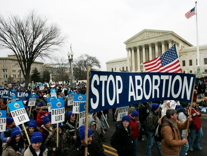 Anti-abortion marchers walk near the Supreme Court during the annual March for Life, Jan. 22, 2008, in Washington.