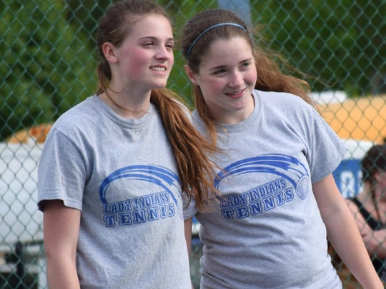 Maya Simmons, left, and Allyson Senger form Fort Defiance's No. 1 doubles team. Between singles and doubles, Simmons reached 100 wins for her career on Thursday afternoon in the 3A West tournament.