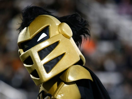 """The Central Florida Knights' mascot, Knitro, entertains the crowd during a Nov. 26, 2015, football game against South Florida. The Knights, members of the American Athletic Conference, are a """"maybe"""" on the Register's Randy Peterson's list of teams that stand a chance at joining the Big 12, should it decide to expand."""