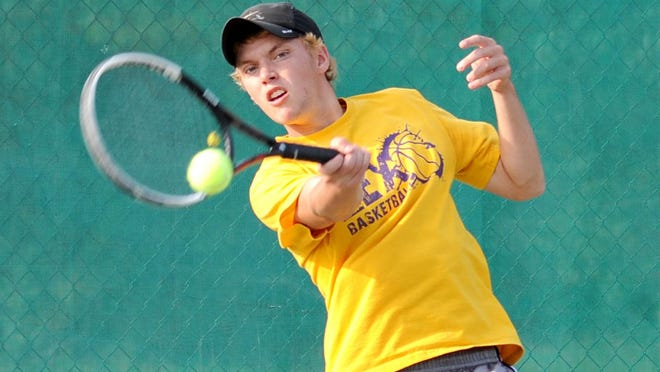 Jansen Webster smacks a forehand during Tuesday's match against cousin Luke Webster in the 82nd News Journal/Richland Bank Tennis Tournament at Lakewood Racquet Club. Jansen won the title with a 6-3, 6-3 victory.