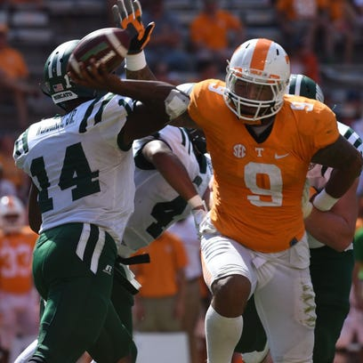 Tennessee defensive end Derek Barnett (9) pressures Ohio quarterback Greg Windham (14) during the second half at Neyland Stadium on Saturday, Sept. 17, 2016. UT won the game 28-19.(AMY SMOTHERMAN BURGESS/NEWS SENTINEL)