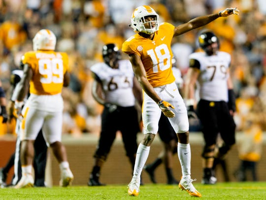 Tennessee defensive back Nigel Warrior (18) dances to the music during an game between Tennessee and Southern Miss at Neyland Stadium in Knoxville, Tennessee, on Saturday, Nov. 4, 2017.