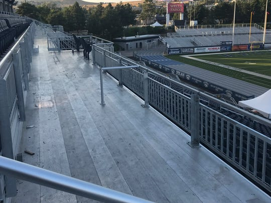 A September 2017 view of new seats for people with