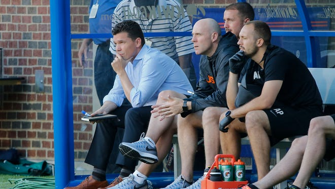 FC Cincinnati manager Alan Koch watches the game in the second half during the USL soccer game between Orlando City B and FC Cincinnati, Saturday, May 13, 2017.