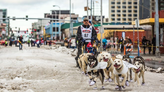 Musher Chuck Schaeffer and his team charge down Anchorage's 4th Avenue during the ceremonial start of the Iditarod sled sog race in Anchorage, Alaska on Saturday, March 7, 2015.