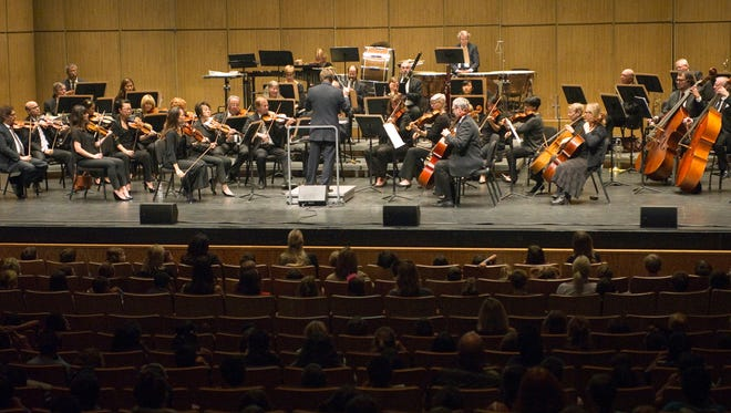 The New West Symphony performs its annual Symphonic Adventures concert for elementary school children at the Thousand Oaks Civic Arts Plaza in 2014.