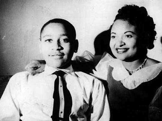 Emmett Till is photographed with his mother, Mamie Till Mobley.