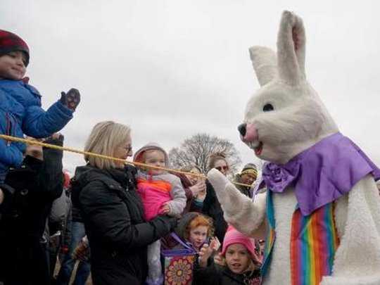 Corey Routen of Westland is in his fifth year as the Marshmallow Drop Easter Bunny.