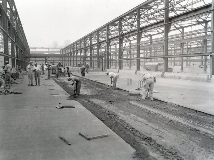 Alcoa Archives In 1957, construction began on the 150,000 ton-per-year smelter in Warrick County. Here, employees are paving the courtyard between two potlines. Today, Warrick Operations has five operating potlines with an annual capacity of 270 metric tons per year.