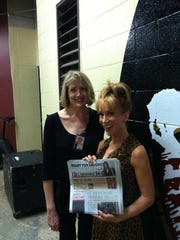 Comic Kathy Griffin laughs it up backstage with fan Amy Hinson at the FSU Homecoming Pow in 2012.