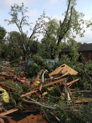 Wind damage in Springfield from storm early Monday.