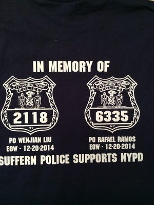 The t-shirts being sold by the Suffern Police Department to raise money for the families of the two NYPD officers killed.