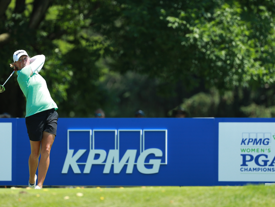 KPMG brand ambassador Stacy Lewis tees off at the 2018
