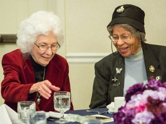 With Dorothy Rachele, at left, Dorris Hamilton participated in the Doña Ana County NAACP's annual Martin Luther King Breakfast on Monday, January 16, 2017, in Las Cruces.