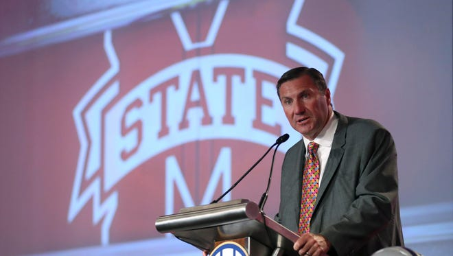 Jul 11, 2017; Hoover, AL, USA; Mississippi State head coach Dan Mullen speaks to the media at the Hyatt Regency Birmingham-The Winfrey Hotel. Mandatory Credit: Jason Getz-USA TODAY Sports