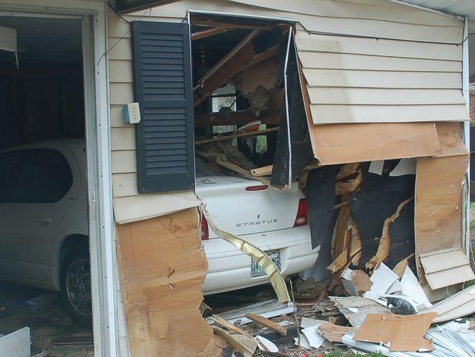 A motorist drove into a home on Jefferson Street in Ashland City on April 8.