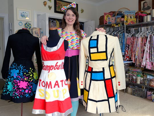Johnson Elementary art teacher Cassie Stephens wears funky outfits every day to inspire her students. Most of the outfits Stephens makes at her home studio in Brentwood.