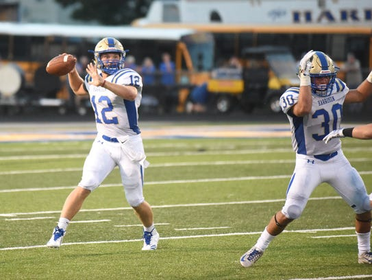Harrison's Noah Ditmanson fires a pass during the Goblins'