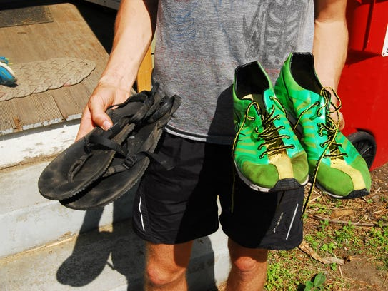 Teage O'Connor shows off two of his multiple pairs