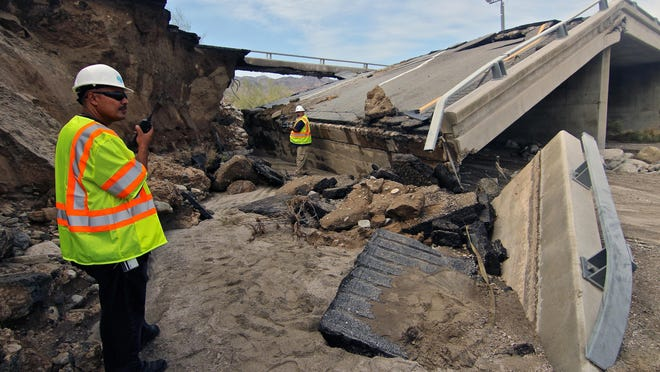 A Desert Sun file photo of the collapsed Tex Wash Bridge on Interstate 10 east of Coachella.