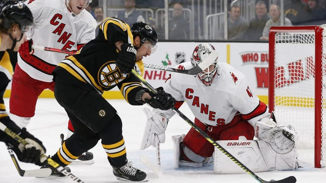 The Bruins' Brad Marchand tries to get a shot off as Hurricanes goaltender James Reimer holds his ground during a game in December. The teams meet again in the Stanley Cup playoffs, beginning on Tuesday night.