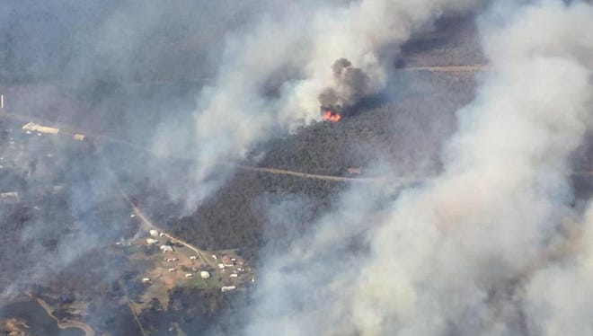 An aerial of the Sportsman Fire in Longtown on Lake Eufaula in Oklahoma on March 20, 2017.
