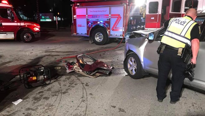 A woman died and five others were injured Tuesday, Dec. 26, 2017, after a crash in St. Lucie West.