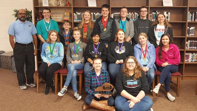 Pictured below: Back row- Ram Kumar, Peter Nikolai, Joseph Cheatham, Emily Davis, Johnathan Baird, Aaron Poe, Paden Dyer, and Abby Wheaton.  Middle row- Kendra McDowell, Lilly Shirel, Kaylee Boyd, Tori Omer, Peyton Wilson, and Emma Sprague.  Front row-Jacqueline Davis and Rachel Acker