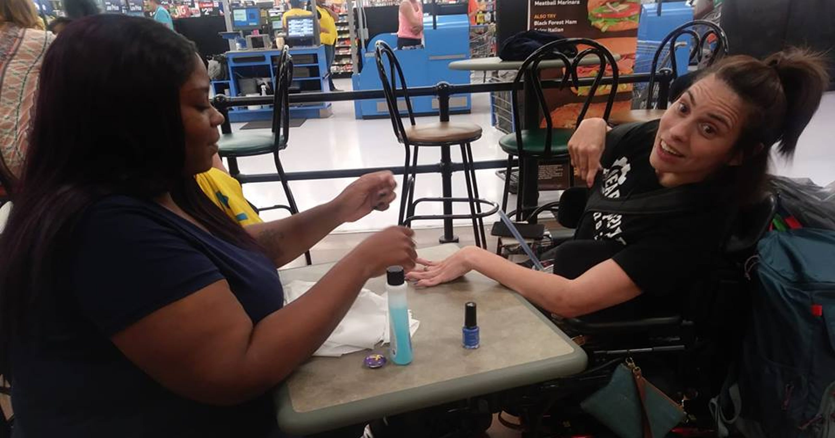 Walmart Cashier Paints Nails Of Woman With Disability On Break