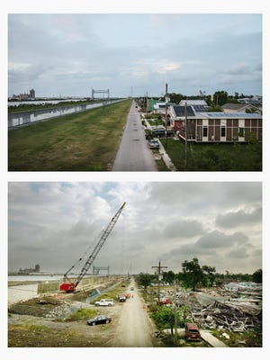 Lower Ninth Ward of New Orleans, after Katrina and now.