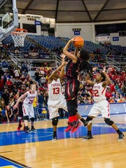 North Caddo's Sumer Williams goes up for a shot in