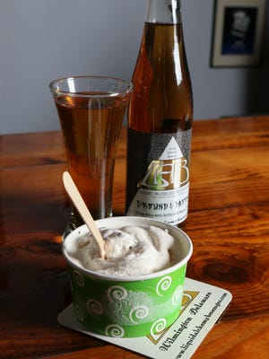 """Espresso Yourself"" ice cream with Ground & Tapped wine from Liquid Alchemy Beverages is the result of a partnership with Woodside Farm Creamery."