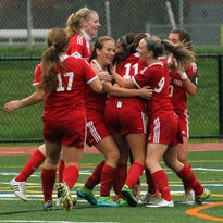 Whippany Park celebrates a goal by Silvana Poulter (11) during the 2015 North 2 Group II final.
