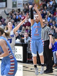 Southern Door senior Gabby Atkins shoots during the Eagles' sectional final loss to Amherst on Saturday at Kaukauna.