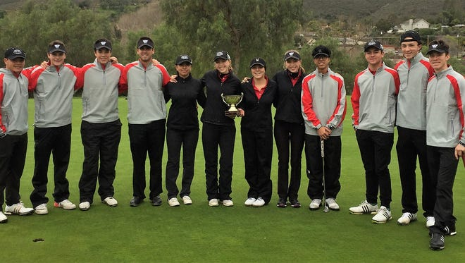 Members of the VCJGA's All-Star team hold the trophy they won after defeating a team from San Diego in the North South Cup event.