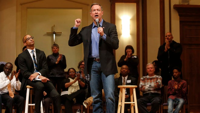 Democratic presidential candidate and former Maryland governor Martin O'Malley talks about immigration issues during the Putting Families First Forum at First Christian Church on Friday, Jan. 9, 2016, in Des Moines, Iowa.
