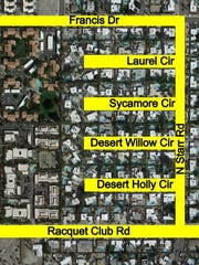 This map shows an area in Palm Springs where Desert Water Agency is doing a pipeline project this month.