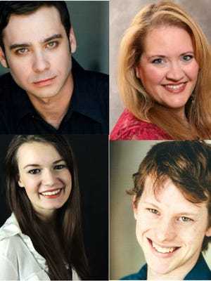 """The cast of The Company of Strangers' """"The Glass Menagerie,"""" from left: top row; Nathanael Press as Tom Wingfield, Sandra Baker-Renick as Amanda Wingfield; bottom row; Kimberly Laberge as Laura Wingfield, JJ Gatesman as Jim the Gentleman Caller."""