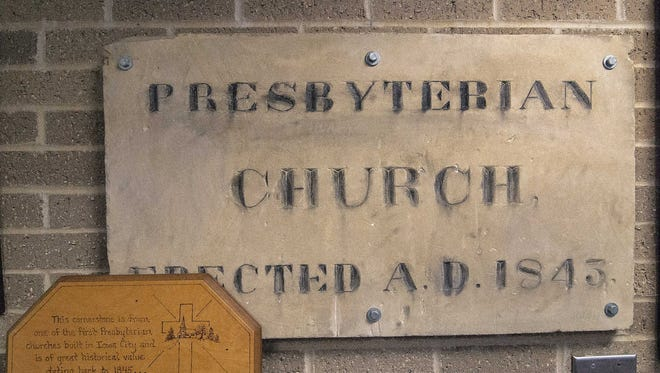 The cornerstone at First Presbyterian Church in Iowa City, which is celebrating its 175th anniversary this weekend.