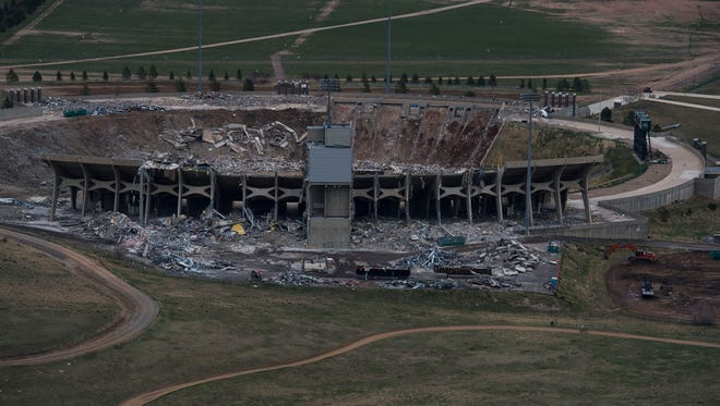 Demolition continues of Hughes Stadium on Monday, April 16, 2018, in Fort Collins, Colo.